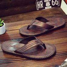 Men Flip Flops Summer 2018 Fashion Beach Cool Men Slippers Anti Slip PU Leather Solid Shoes Men Pantoffel Heren Tongs Homme Ete