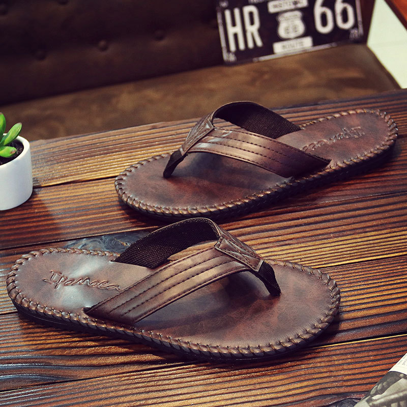 Men Flip Flops Summer 2020 Fashion Beach Cool Men Slippers Anti Slip PU Leather Solid Shoes Men Pantoffel Heren Tongs Homme Ete