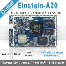 CubieAIO A20 איינשטיין A20 Core לוח פתוח מקור אנדרואיד Linu Allwinner A20, Cortex A7 עם ליבה כפולה, זרוע הדגמת לוח