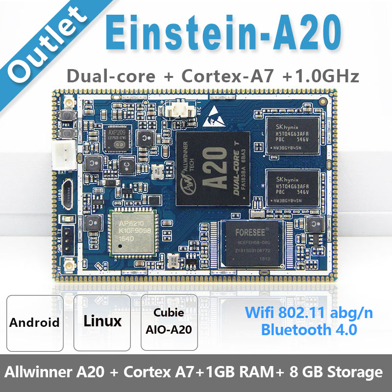CubieAIO A20 Einstein A20 Core Board Open Source Android Linu Allwinner A20, Cortex A7 with Dual Core,ARM Demo Board free shipping l1955 48 l0g02 a20 supply board