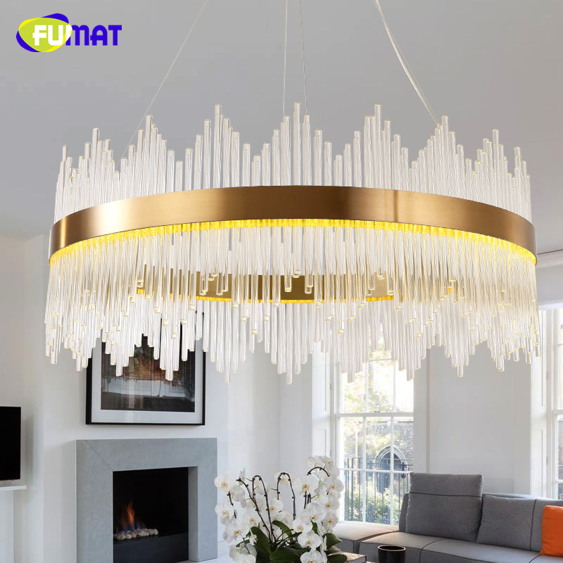 FUMAT European Modern Crystal Round LED Pendant Lights Gold Bar Stair Living Room Luxury Crystal Pendant Lights Light Fixtures hot selling perforated lustres de teto european luxury double helix stair pendant lights 100% crystal guarantee