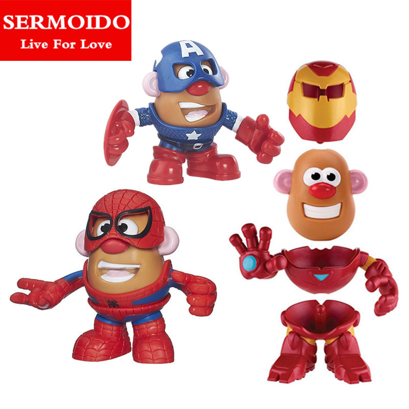 SERMOIDO Super Hero Mr. Potato Head Spider-man Iron Man America Captain DIY Assembly Action & Toy Figures Collectible Doll B89 10cm spider man japanese anime lovely swing doll cute black panther mobile phone holder shaking head action