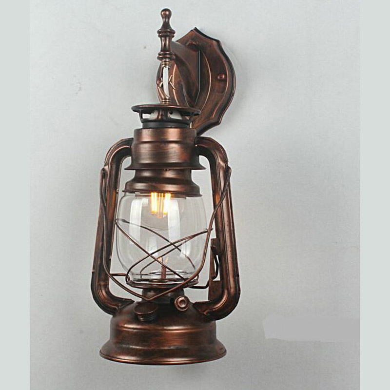 Kerosene Lamp iron LED lamps wall lamp balcony vintage oil lamp nostalgic decorative lighting Farmer's Lantern iron lantern