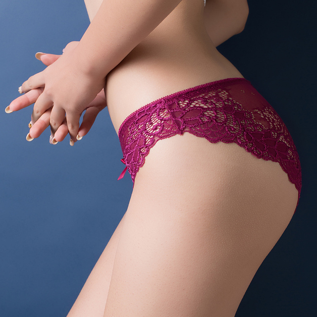 Sexy transparent lace seamless plus size panty