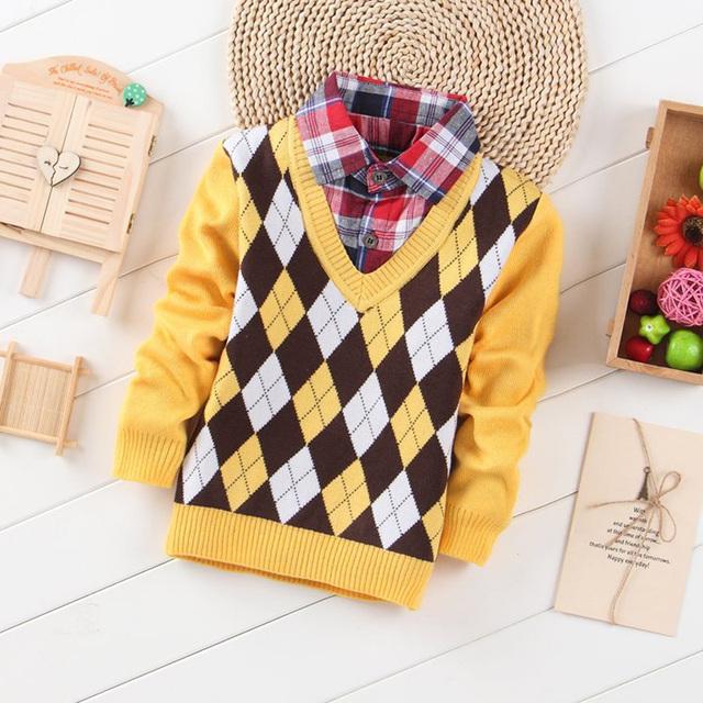 Venta caliente 2016 niños del Otoño Niños Suéteres de Algodón de Moda Ropa de Los Cabritos Niños