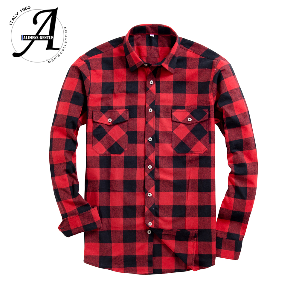 Brand New Flannel Plaid Shirt Men Casual Long Sleeve High Cotton Fashion 2018 Male Shirt Chemise Homme Camisa Social Masculina(China)