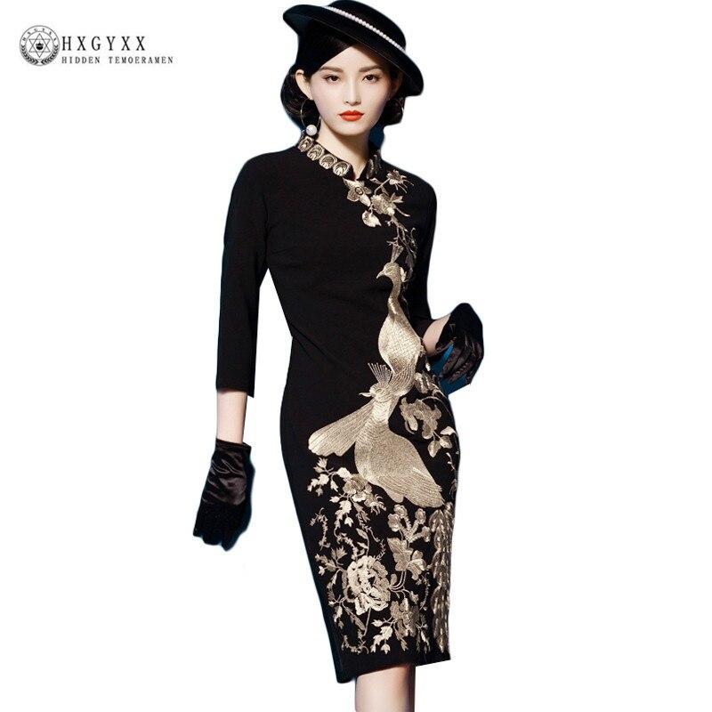Robes Fleur Oiseau Or robe de broderie Femmes 2019 Printemps grande taille Office Lady col montant Noir Slim robe moulante okb565