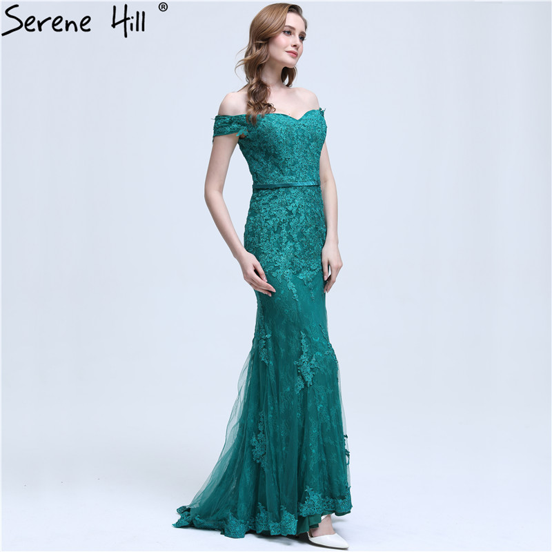Sexy Off Shoulder Covered Button Mermaid Long Evening Dresses 2018