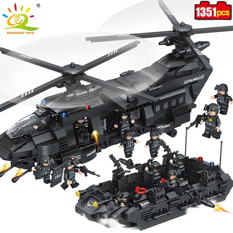1351pcs Military Swat Police Team Building Blocks Transport Helicopter Compatible Legoed city army Enlighten Bricks Children toy 1351pcs large building blocks sets swat