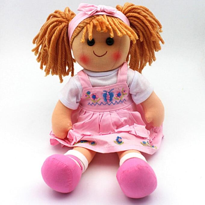 Doux 16 pouces de mode poupées jouets pour filles enfants rose poupée de chiffon bébé né avec un chiffon facile à enlever lavable en machine