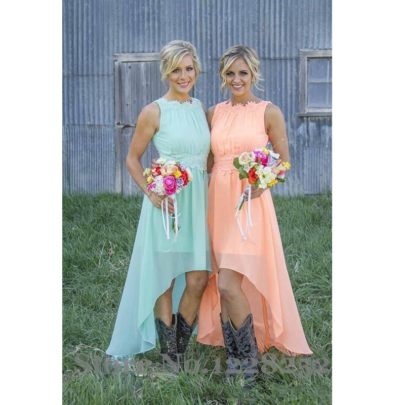 2017 Cheap Peach Lace Chiffon   Bridesmaids     Dresses   Scoop High Low Wedding Party   Dress   Backless Vintage Maid of Honor   Dresses