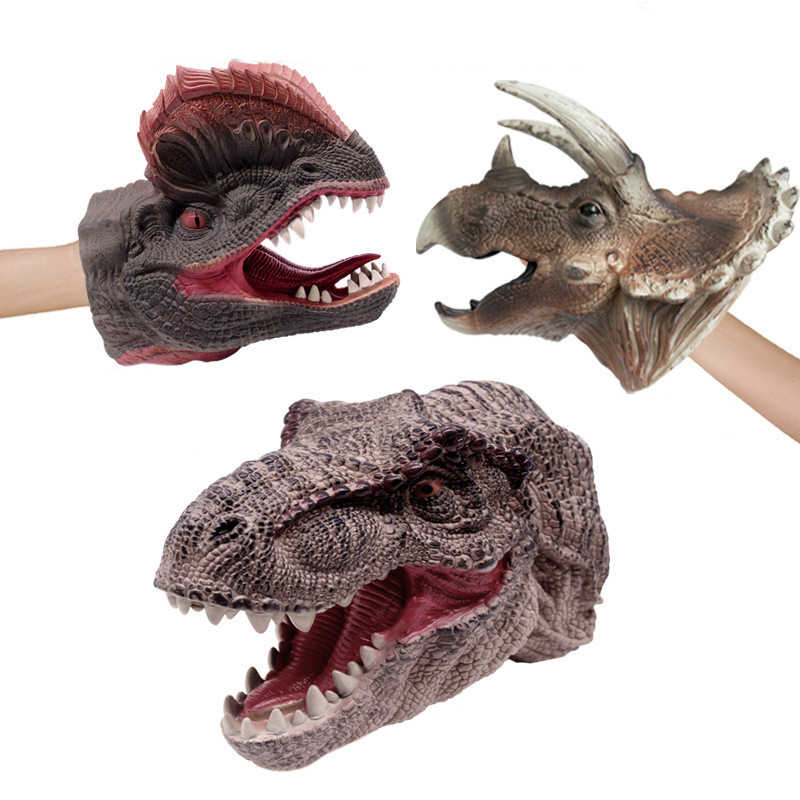 Реалистичные фигурки динозавров марионетки перчатки мягкие виниловая Резина животных акула головы коровы действие пальцем игрушки-динозавры