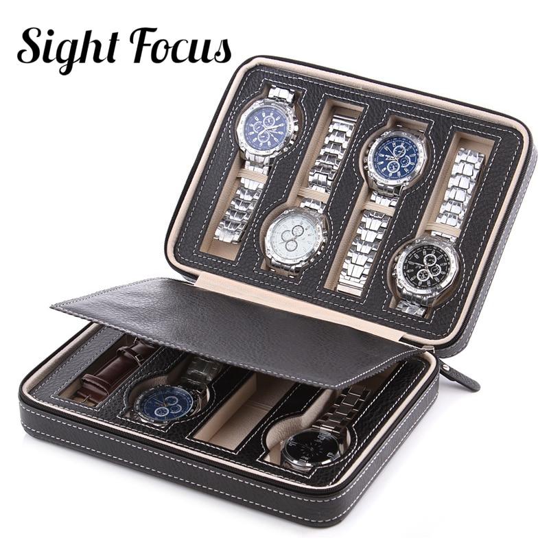 Image 5 - Прицел Фокус 2 4 8 сетки путешествия часы Органайзер коробка Молния из искусственной кожи чехол для часов переносной держатель для хранения держатель для наручных часов черный кофеКоробочки для часов   -