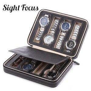 Image 5 - Sight Focus 2 4 8 Grids Travel Watch Organizer Box Zipper PU Leather Watch Case Protable Storage Wristwatch Holder Black coffee