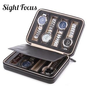 Image 5 - Sight Focus 2 4 8 siatki podróży organizator zegarków Box Zipper PU Leather Watch Case Protable Storage zegarek uchwyt czarna kawa