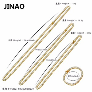 """Image 5 - Jinaoヒップホップネックレスゴールド/シルバー色すべてアイス銅マイクロは、cz石6ミリメートルテニスチェーンネックレス18 """"20"""" 24 """"30"""""""