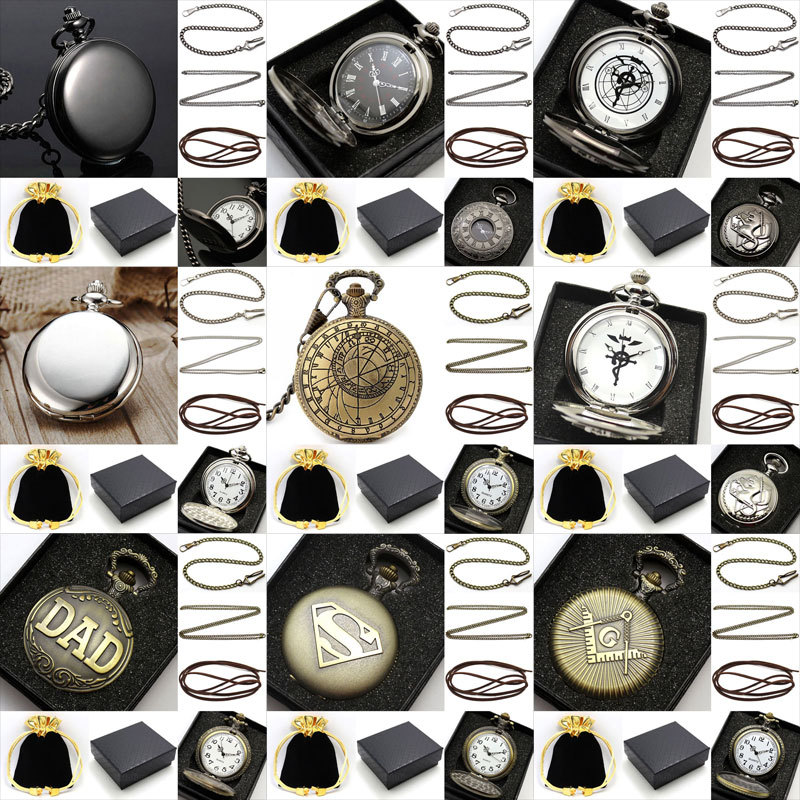 Lot Vintage Pocket Watch Quartz With Metal Pocket Necklace Leather Chain Box Bag
