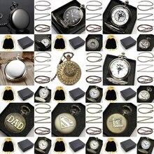 Porción de La Vendimia del Reloj de Bolsillo de Cuarzo Con caja de Metal de Bolsillo Caja Collar de Cadena De Cuero Bolsa de
