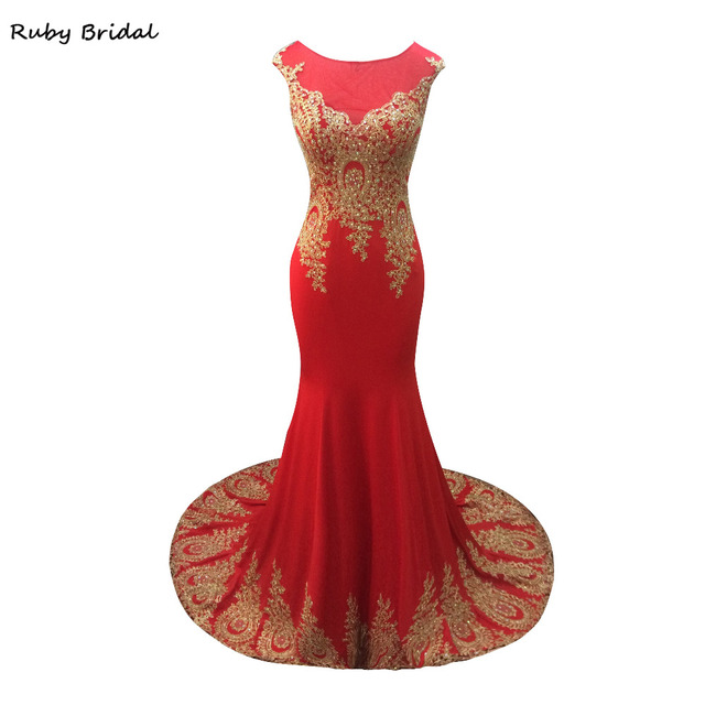 Ruby Bridal 2017 Vestidos De Fiesta Red Spandex Appliques Beads Prom Dresses  Elegant Luxury Mermaid Long Cheap Party Gown LP021 e4b99ec05390