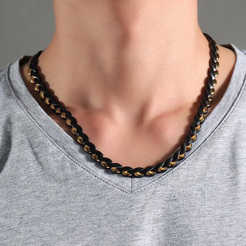 Mode Hommes Femmes Thérapie Magnétique Puissance Colliers En Acier - Bijoux fantaisie