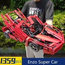 1359pcs Racers Ferrare Enzo Super Car 1:10 Scale Sports Car Model Compatible Legoingly Technic 8653 Building Blocks Bricks Toy