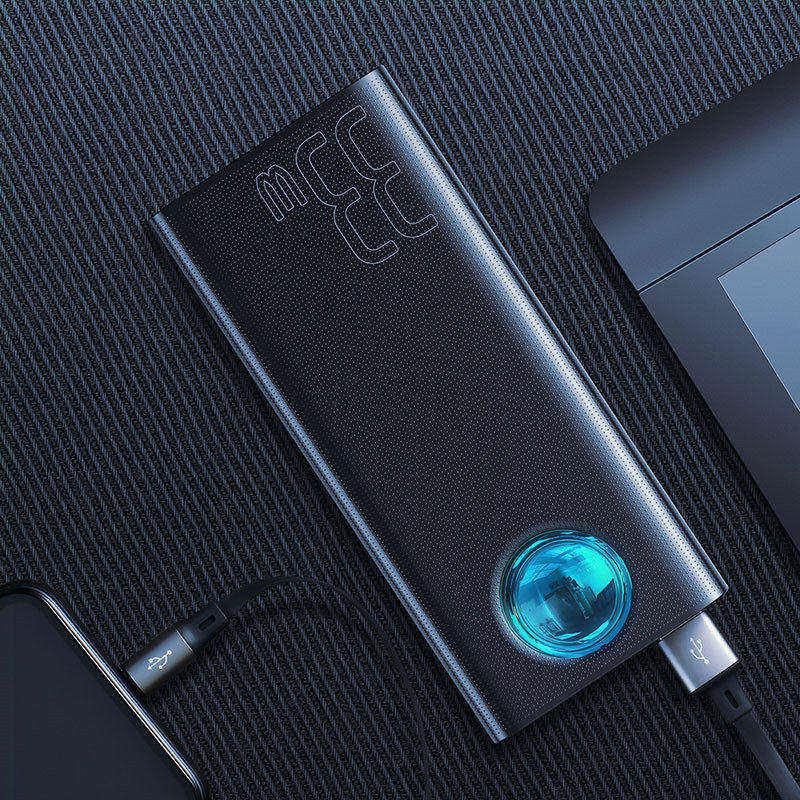 Baseus 30000mAh power Bank USB C PD 3,0 Быстрая зарядка+ быстрая зарядка 3,0 Портативный внешний аккумулятор для ноутбука samsung power bank - Цвет: Black Power Bank