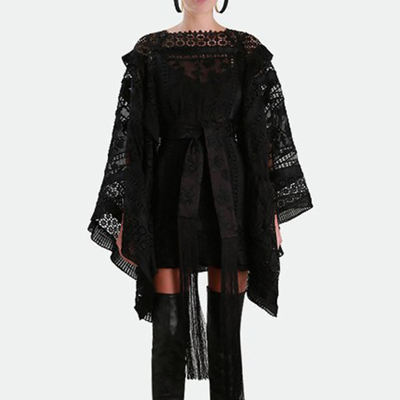 8c8a918452 2018 Runway Designer Ruffles Patchwork Embroidery Dress Noble Holiday Party  Dress