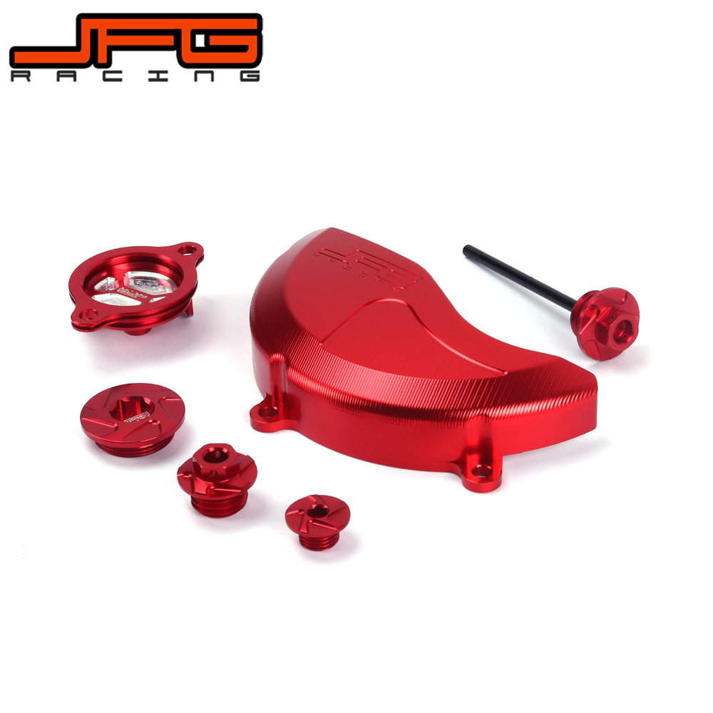 CNC Oil Filter Cap Engine Side Cover Dipstick Dip Set Magnetic Oil Drain Plug Bolt For HONDA CRF450X 05-16 CRF250R 10-16 CRF new red fine workmanship engine oil cap cover plug for subaru motor sports