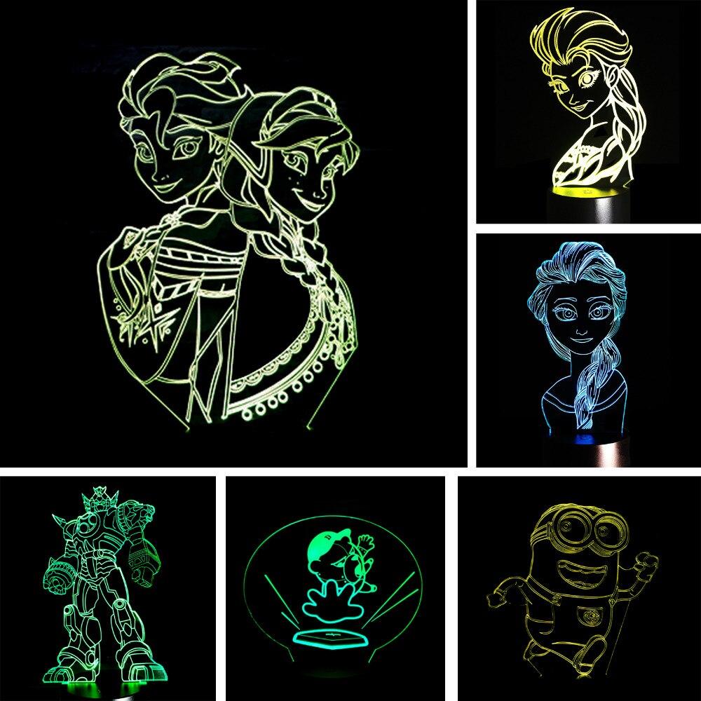 Nouvelle Princesse 3D Ambiance Nuit Lumière 7 Changement de Couleur LED Art Lampe de Table De bureau Chambre Pour Bébé Enfant Enfants Jouet Cadeau De Noël