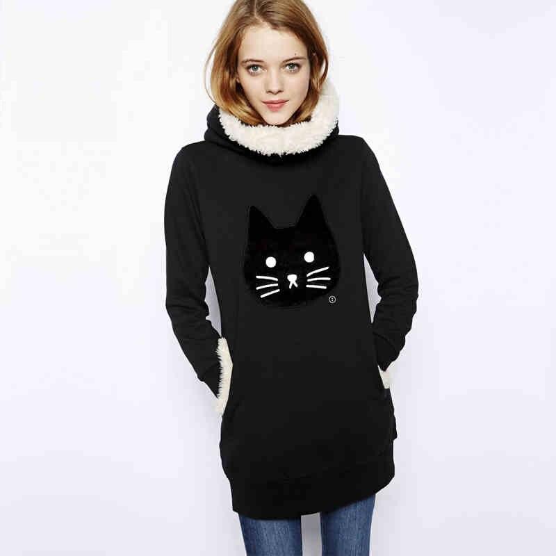Animal Cat Embroidery Women Long Fur Hoody Sweatshirts Warm Winter Coat Black Casual suitsTC19601130021