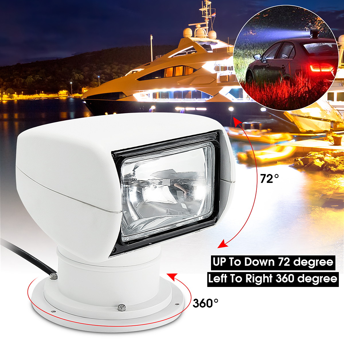 Smuxi Spotlight 12V 100W 2500LM 3200K Marine Searchlight Light Bulb PC+Aluminum Remote Control Multi-angled White