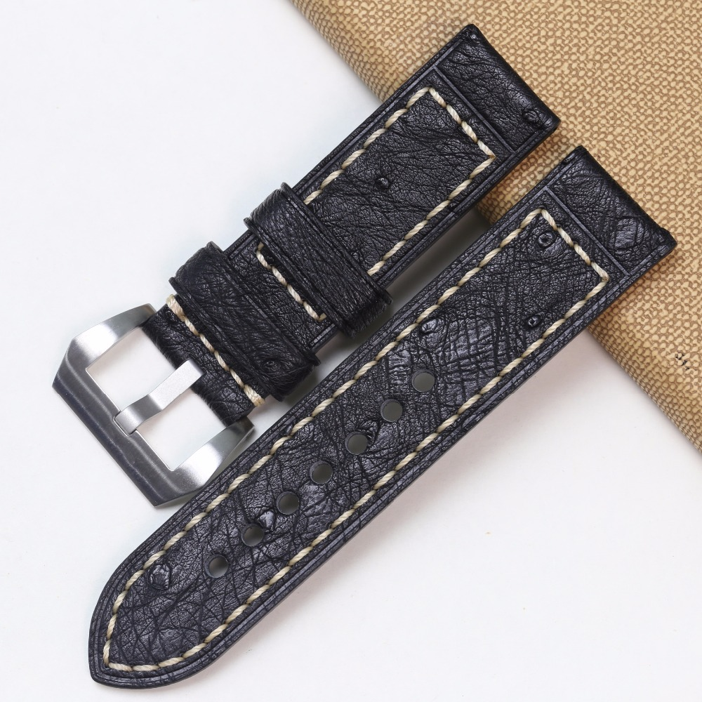 Pesno Africa Echtes Straußenleder Uhrenarmband Schwarz Braun Grau - Uhrenzubehör - Foto 3