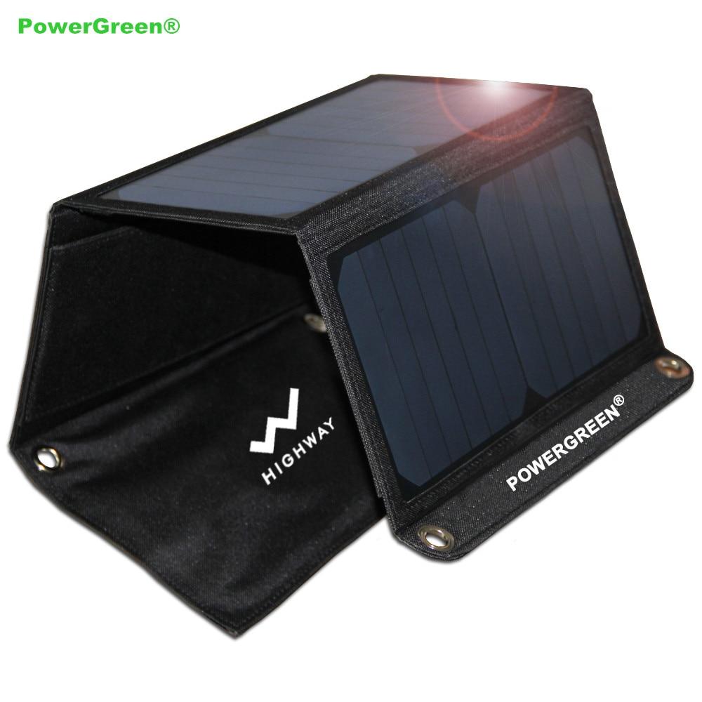 PowerGreen Portable Solar Charger 21 Watt Panel Pengisian Cepat Bank - Aksesori dan suku cadang ponsel - Foto 1