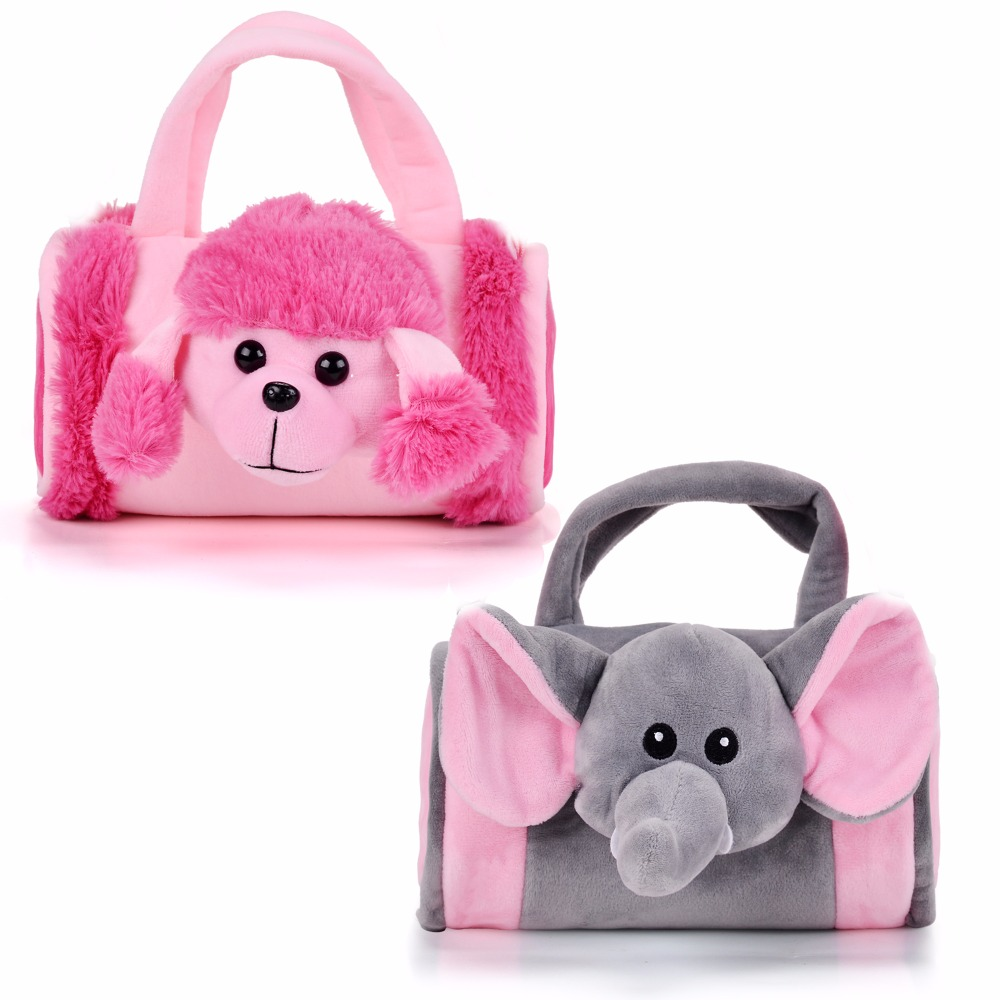 Gloveleya Cartoon Animal Plush Messenger Bag Elephant 3D Dog Storage Bags Kid Toys Handbag for Girls Kid Gift 8'' cartoon kid supercharged