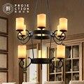 Loft Amerikanischen retro kreis schwarz schmiedeeisen marmor wohnzimmer geweih kronleuchter-in Pendelleuchten aus Licht & Beleuchtung bei