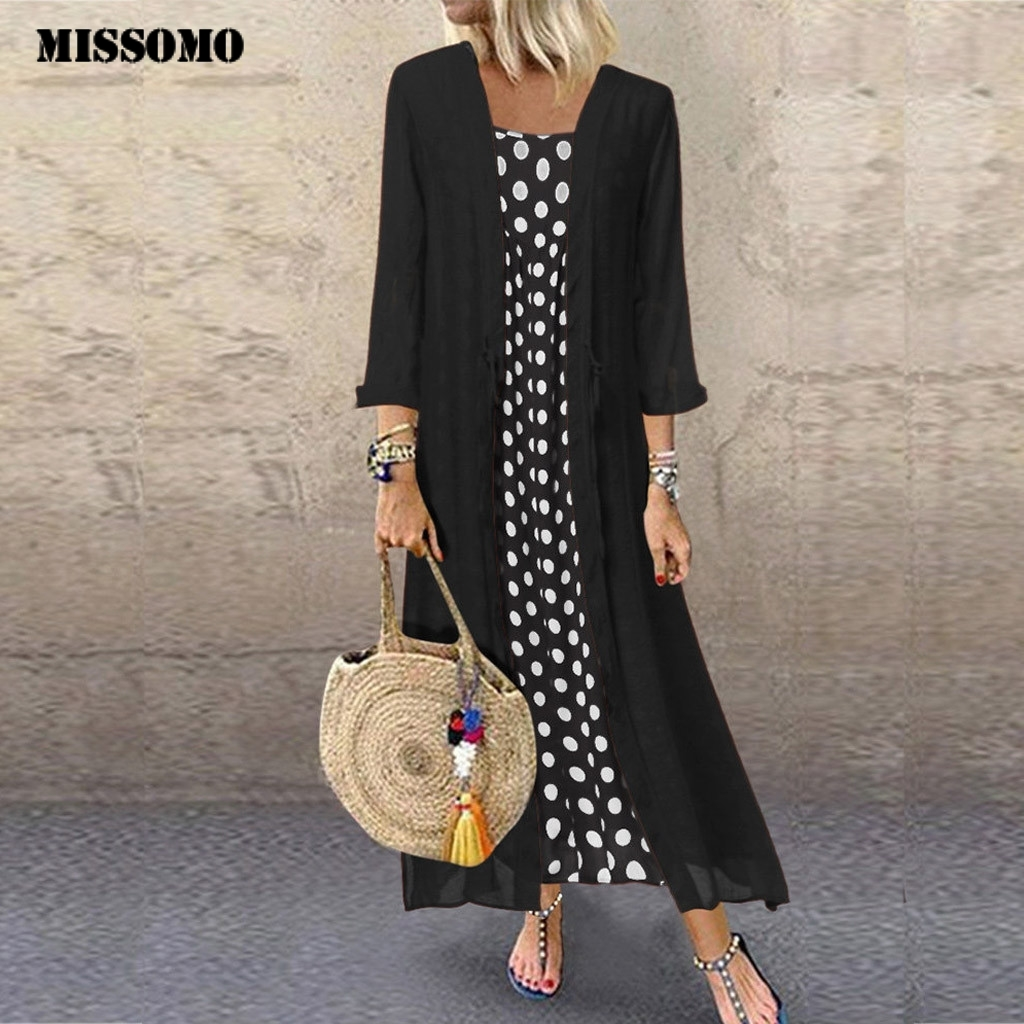 MISSOMO Plus Size 5XL Dress Women Vintage Boho O-Neck Dot Print Lace Two-piece Long Maxi Dress Women Clothes Girls Vestidos 710