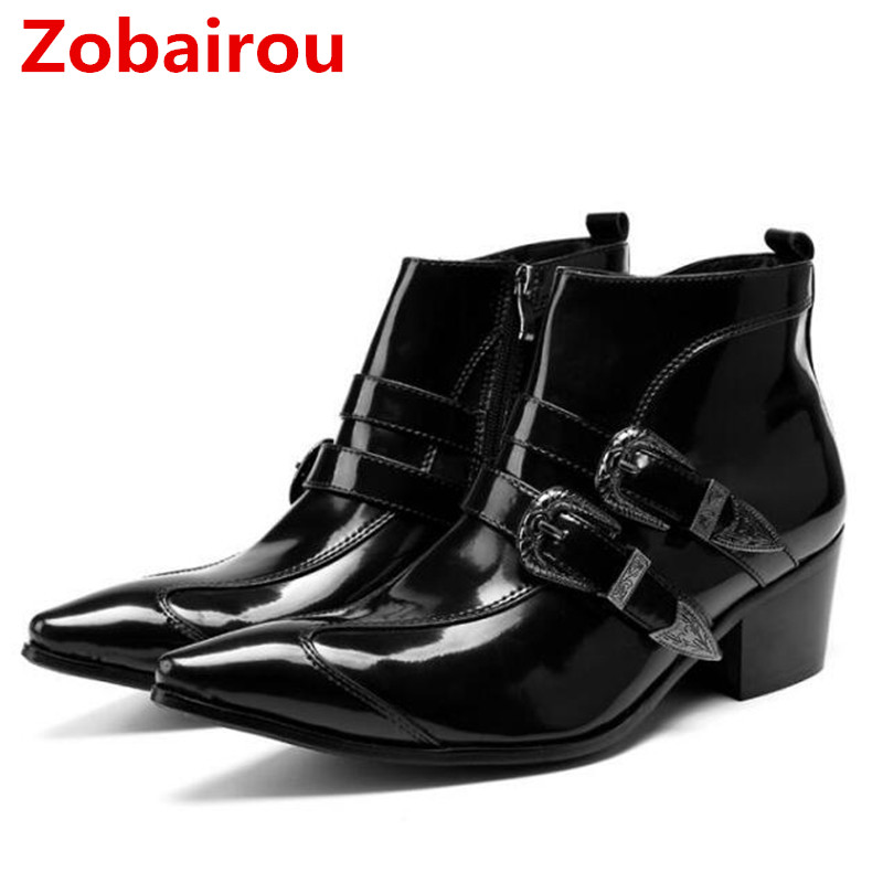 Zobairou Fashion Black Pointy Men Ankle Boots Spring Autumn Genuine Leather Botas Hombre Cowboy Military Boots Prom Dress Shoes fashion men ankle boots spring autumn genuine leather shoes lace up botas hombre metal pointed toe cowboy military boots flats