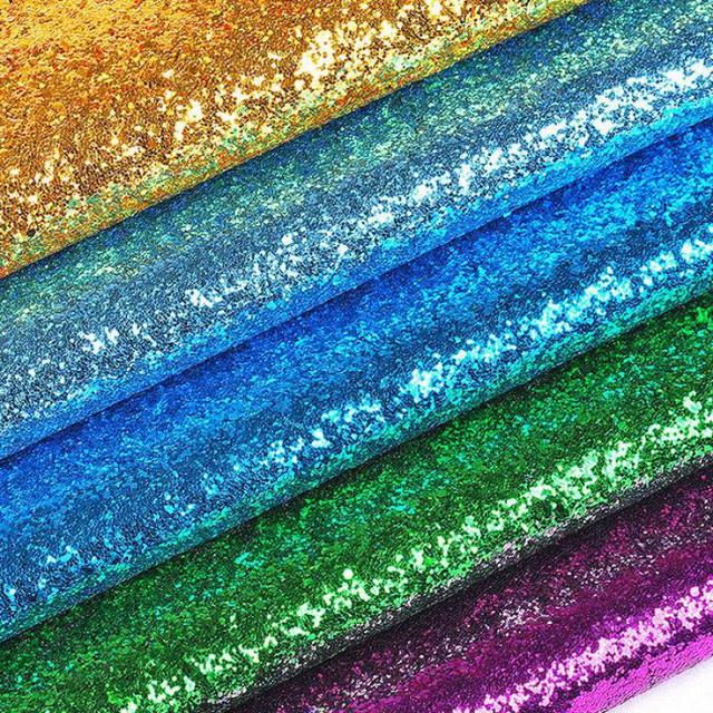 100x130cm Sequins Chunky Glitter Vinyl Fabric For Wedding  Decoration,Textile Bags, Shoes Shinny Holographic