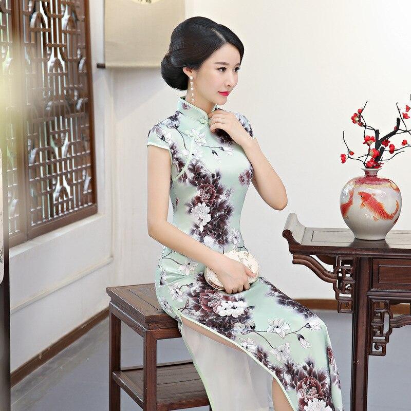 Robe M Formelle Qipao Taille Traditionnel Nouveauté Longue La Chinois Féminine Style style Cheongsam Imprimer 3xl 1 2 Fleur Plus Femmes Sexy Arrivée Nouvelle OXZNwPk80n