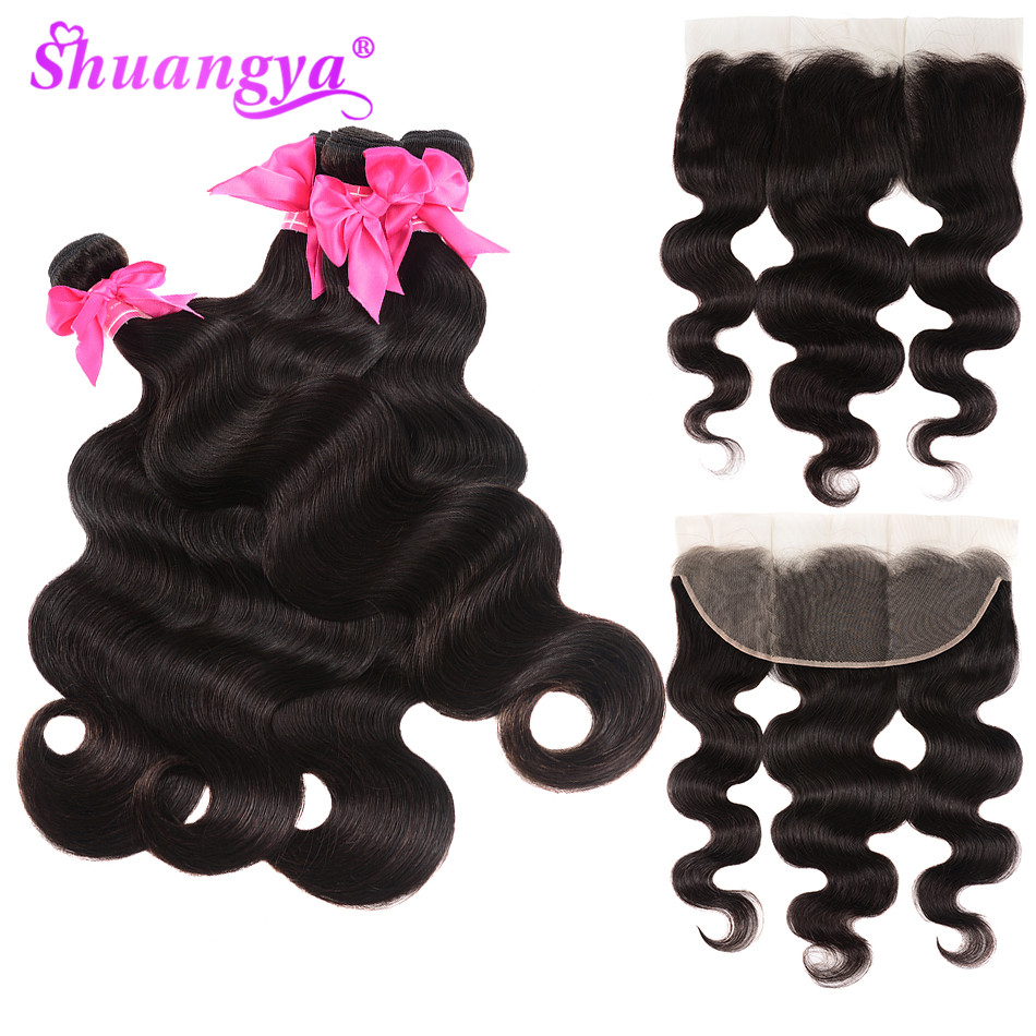 Shuangya Hair Peruvian Body Wave Bundles With Closure 13x4 Lace Frontal With Bundles Remy Hair Human