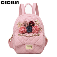 Cecelia Flower Deco Women Quilted Leather Backpack Black School Bag Teenage Girl Female Travel Small Backpack