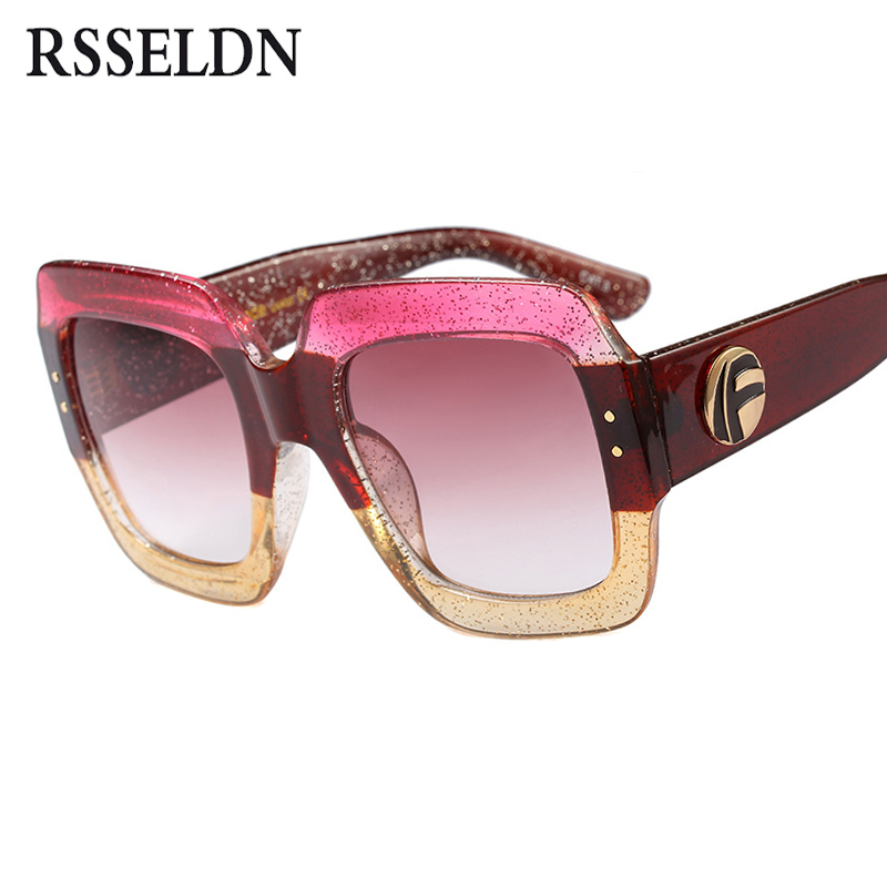 2c51abcc516 Best buy RSSELDN Oversized Square Sunglasses Women Fashion Gradient Lens Sun  Glasses For Women Brand Luxury Black Green Red Shades UV400 online cheap