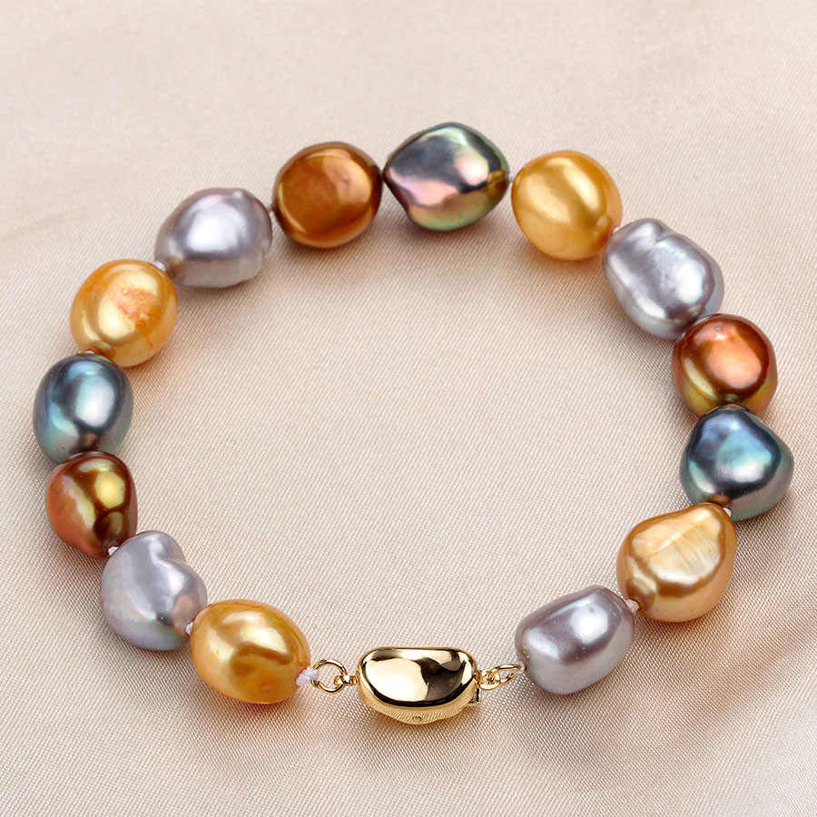 Fashion Multi Color Natural Baroque Pearl Bracelet Gold Color Jewelry 9-10mm Real Freshwater Pearl Bracelets For Women