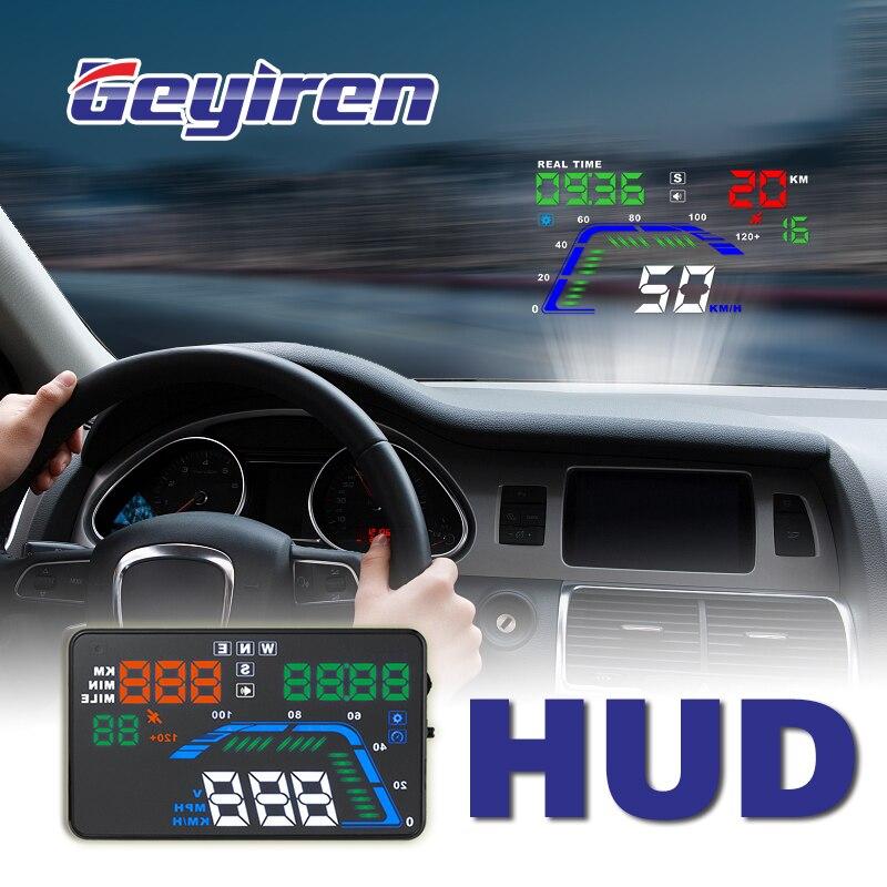 Offre spéciale universelle 5.5 pouces hud affichage voiture Auto compteur de vitesse HUD GPS compteur de vitesse survitesse pare-brise projecteur HUD GEYIREN