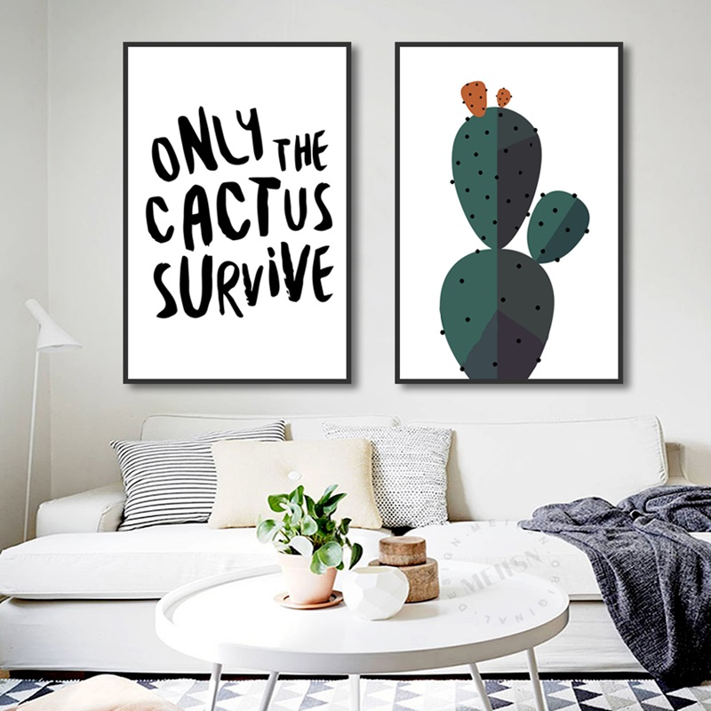 Nordic Decoration Home Art Posters and Prints Simple Creative Cactus Canvas Painting Modular Wall Art Pictures for Living Room in Painting Calligraphy from Home Garden