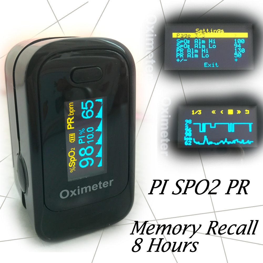 CE ISO Pulse Oximeter Monitor Visual Alarm Beep Sound SPO2 PR Memory Recall 8 Hours PI Perfusion Index Blood Oxygen Monitor