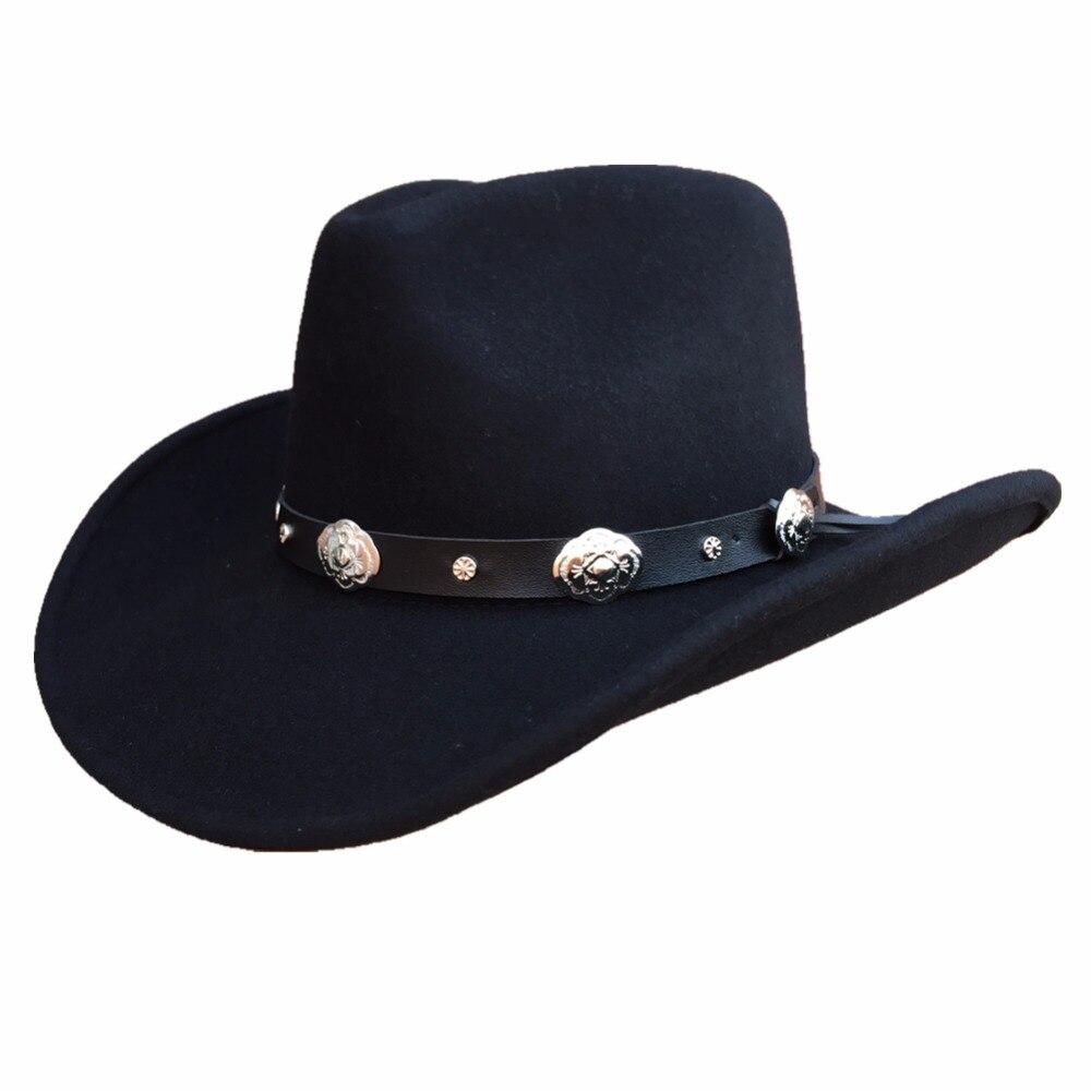 Unisexe Classique Hondo Couronne Noir Laine chapeau de cowboy