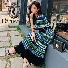 Dabuwawa 2019 New Summer Womens Sexy V-neck Fashion Striped Split Pleated Midi Long Knitted Dress DN1BDR152