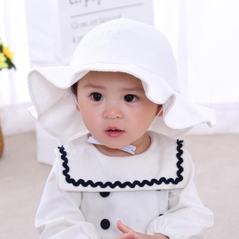 New Spring Summer Baby Girls Hat Children Sun Hat Cotton Baby Bucket Caps Autumn Girls Sunscreen Cap Boys Girls Brim Beach Hats