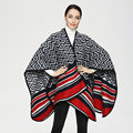 2016 Vintage Negro mix Rojo Color Geométrico del diamante del Poncho de la Cachemira Chales y Bufandas de Invierno Cálido Gruesa Capa PJ014